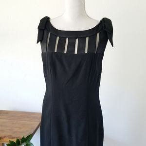 Chetta B Black Bow Shoulder Cocktail Geo Dress 6